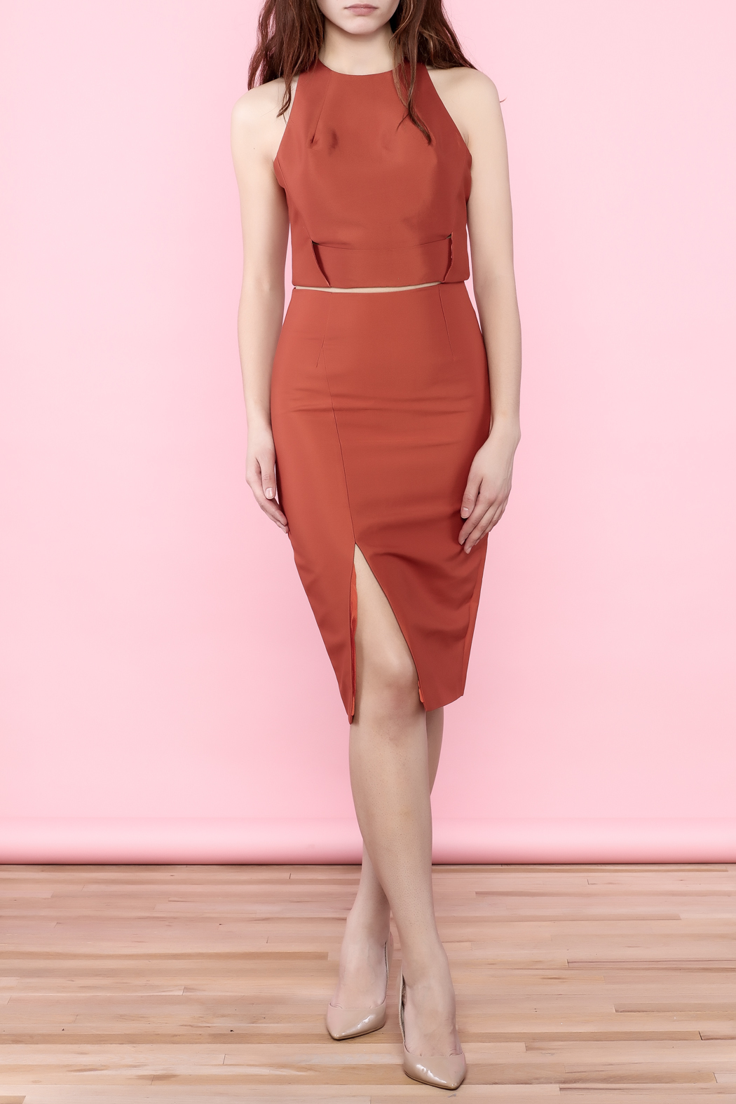 do u0026 be burnt orange pencil skirt from texas by chic u0027tique