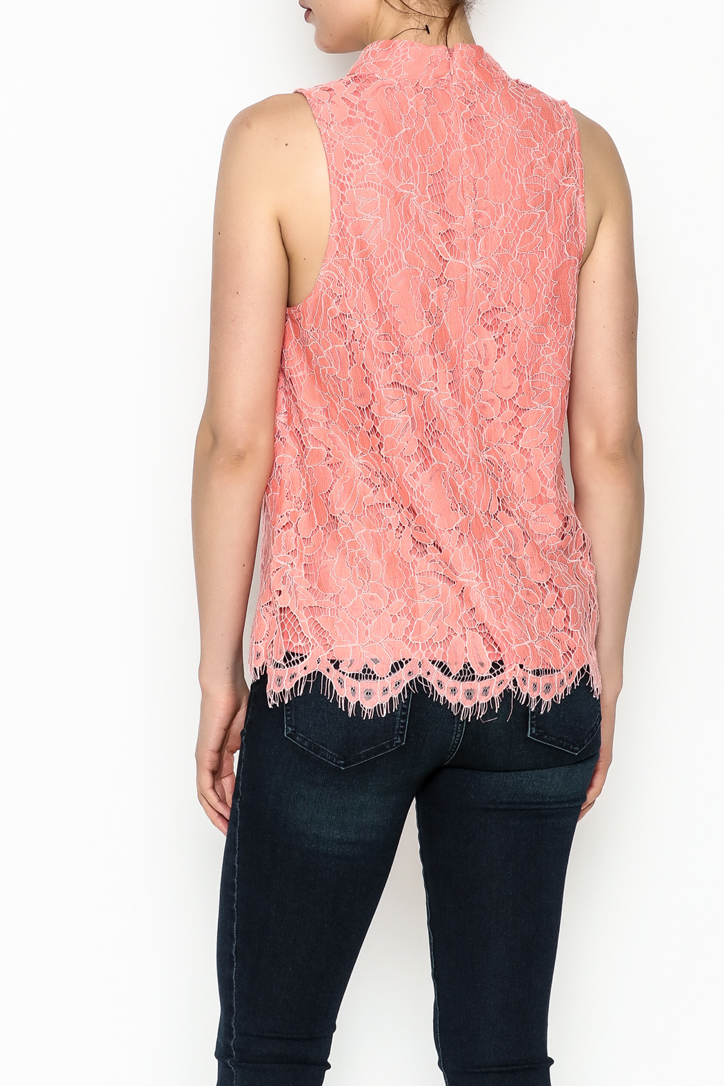 Do & Be Coral Lace Choker Top - Back Cropped Image