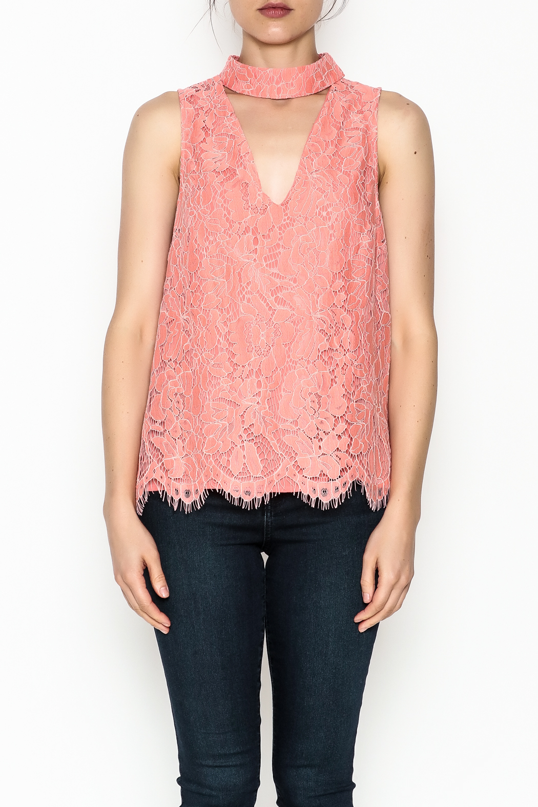 Do & Be Coral Lace Choker Top - Front Full Image