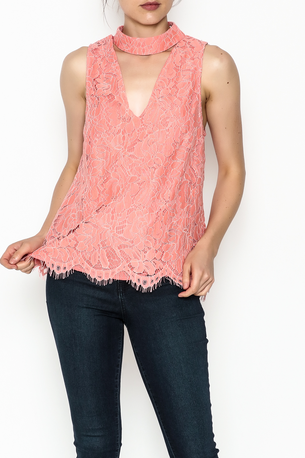 Do & Be Coral Lace Choker Top - Front Cropped Image