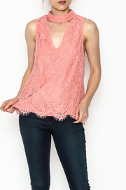 Do & Be Coral Lace Choker Top - Front cropped