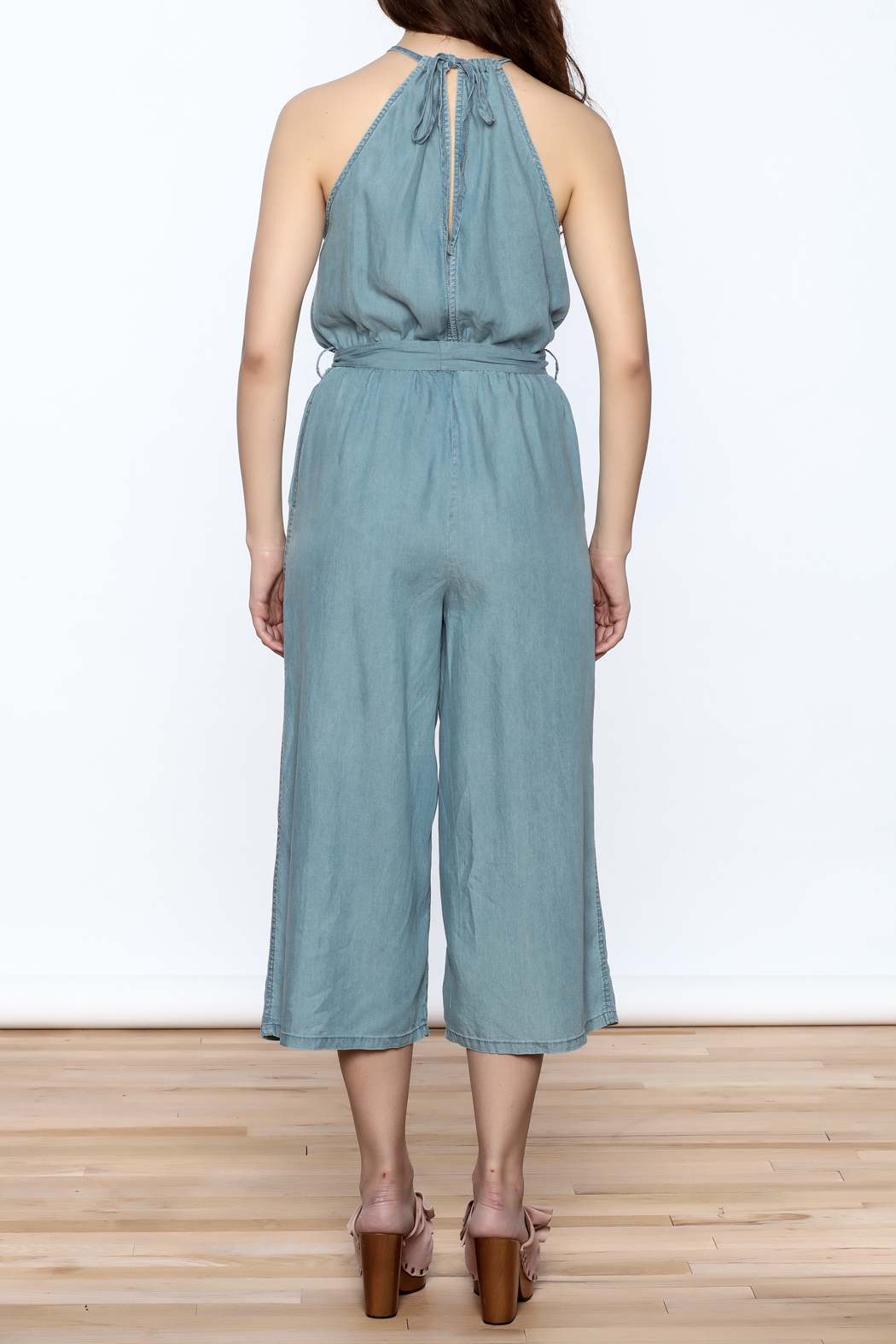 Do & Be Blue Culottes Jumpsuit - Back Cropped Image
