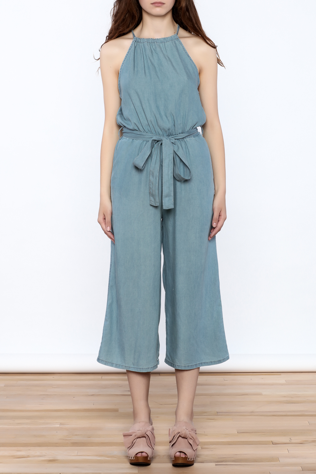 Do & Be Blue Culottes Jumpsuit - Front Cropped Image