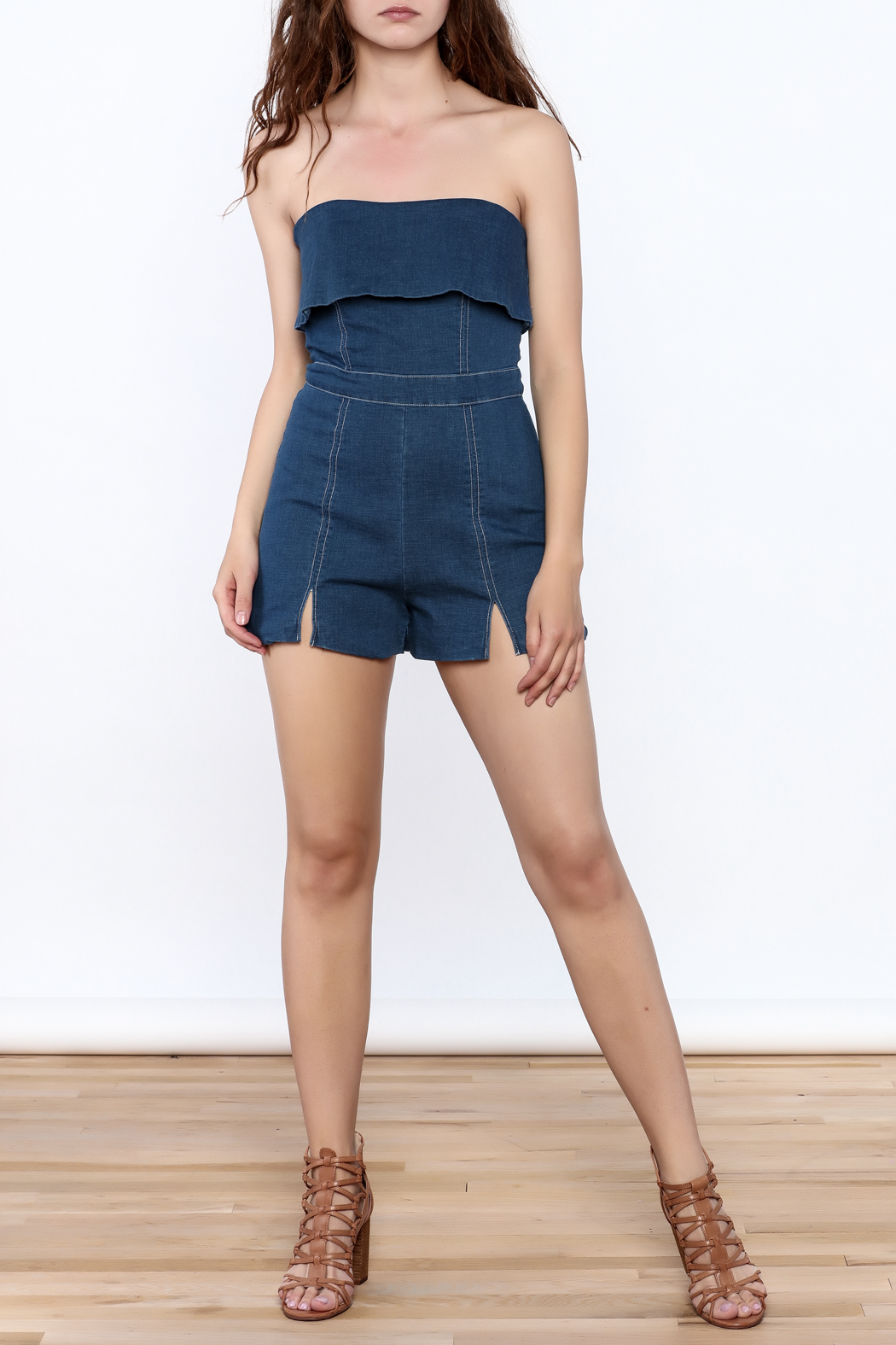 Do & Be Denim Strapless Romper - Front Full Image