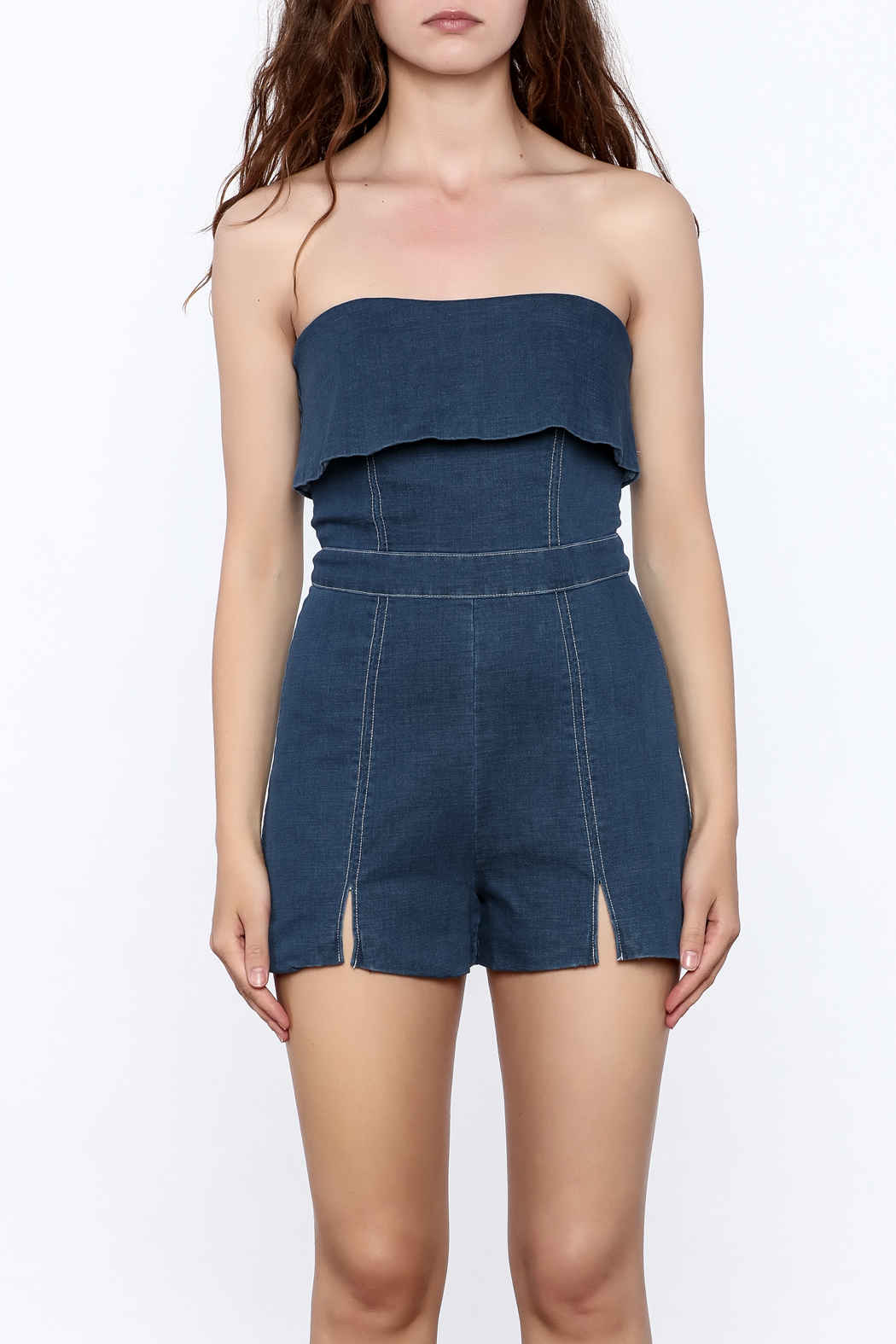 Do & Be Denim Strapless Romper - Side Cropped Image