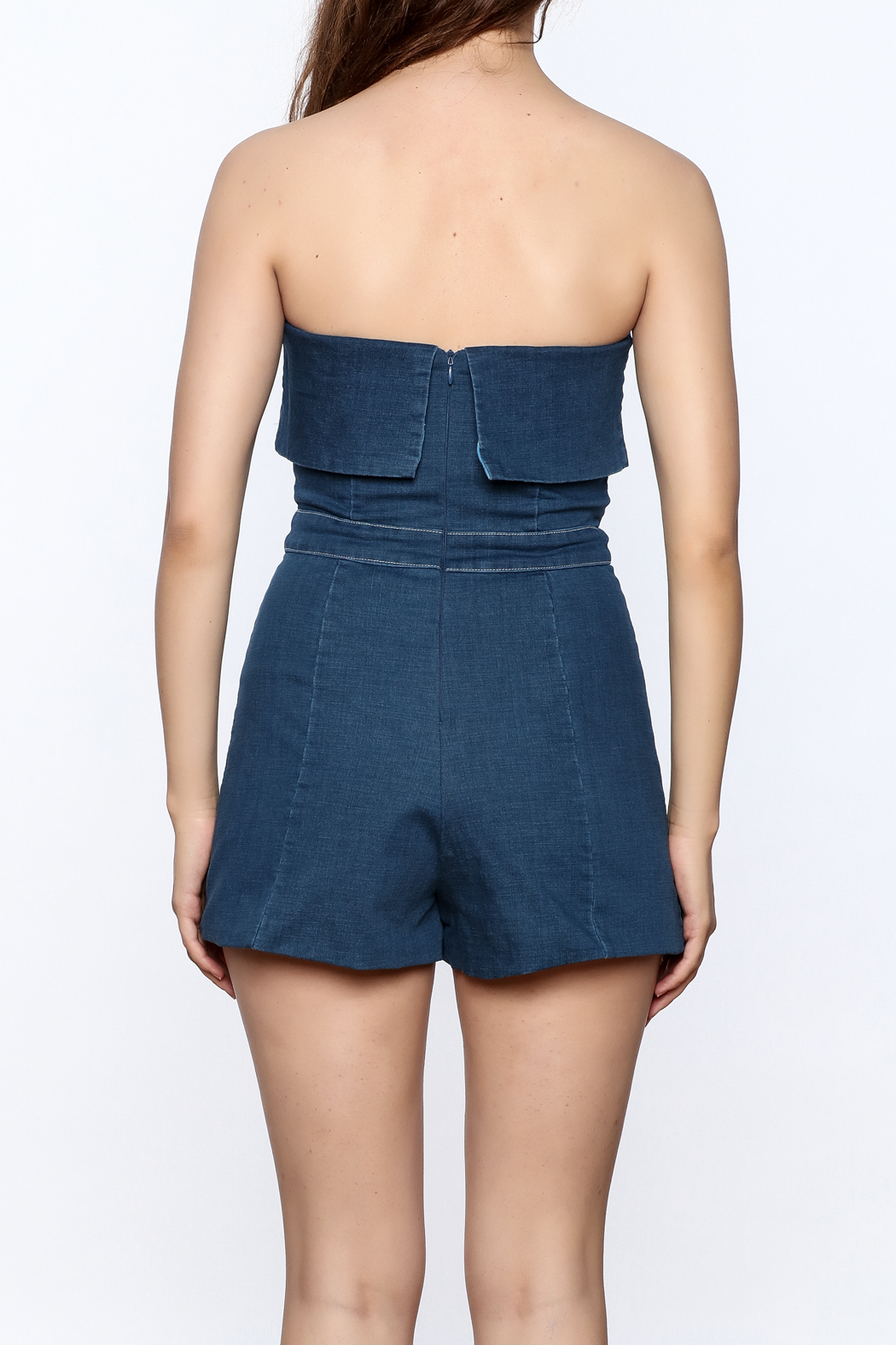 Do & Be Denim Strapless Romper - Back Cropped Image