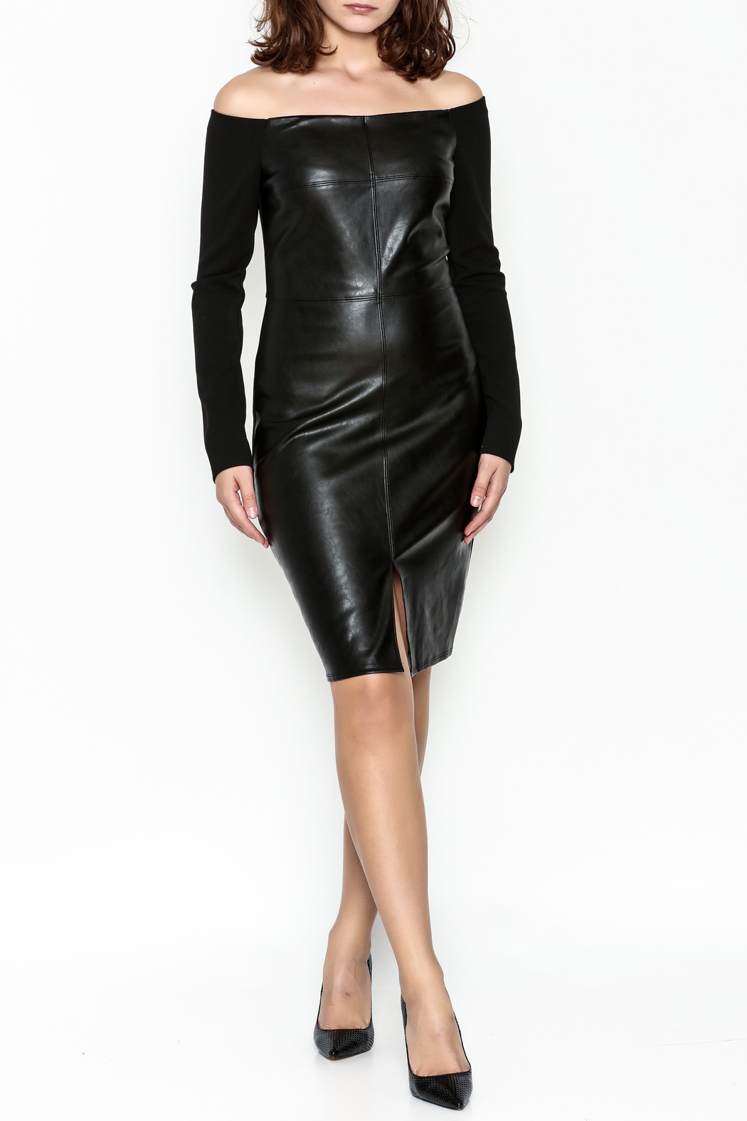Do & Be Faux Leather Dress - Side Cropped Image