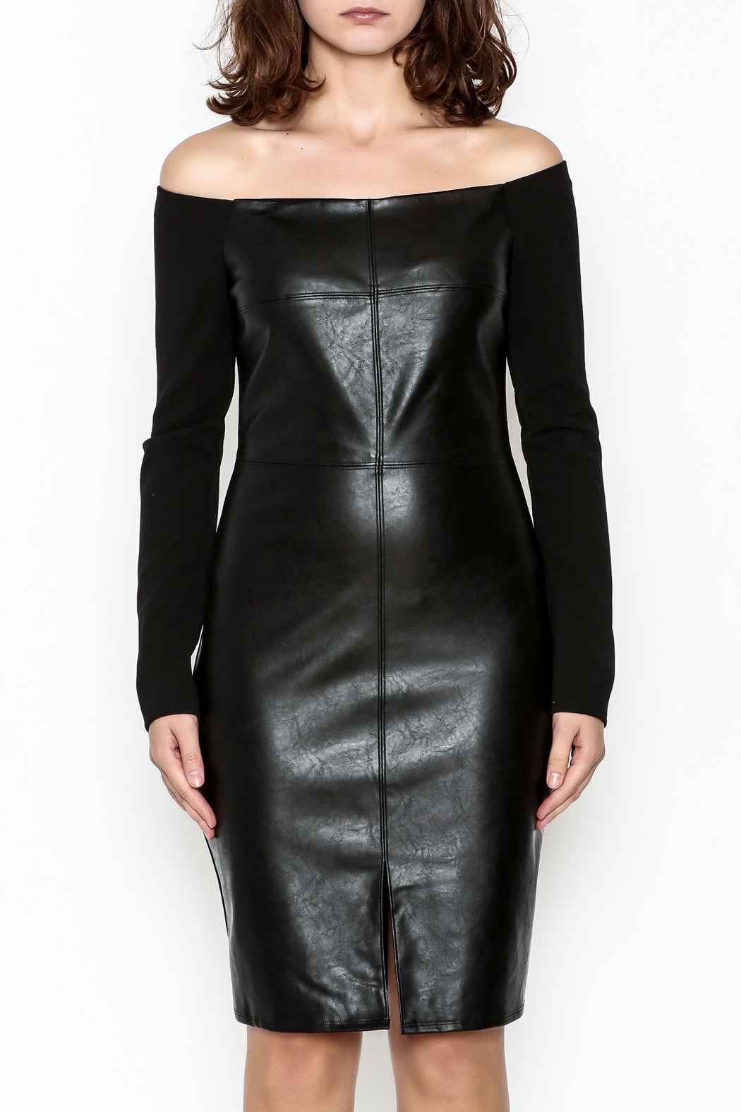 Do & Be Faux Leather Dress - Front Full Image