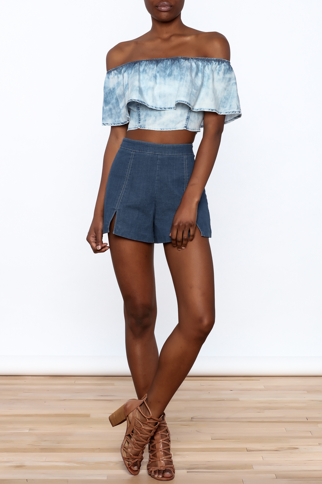 Do & Be High Waist Denim Shorts - Front Full Image