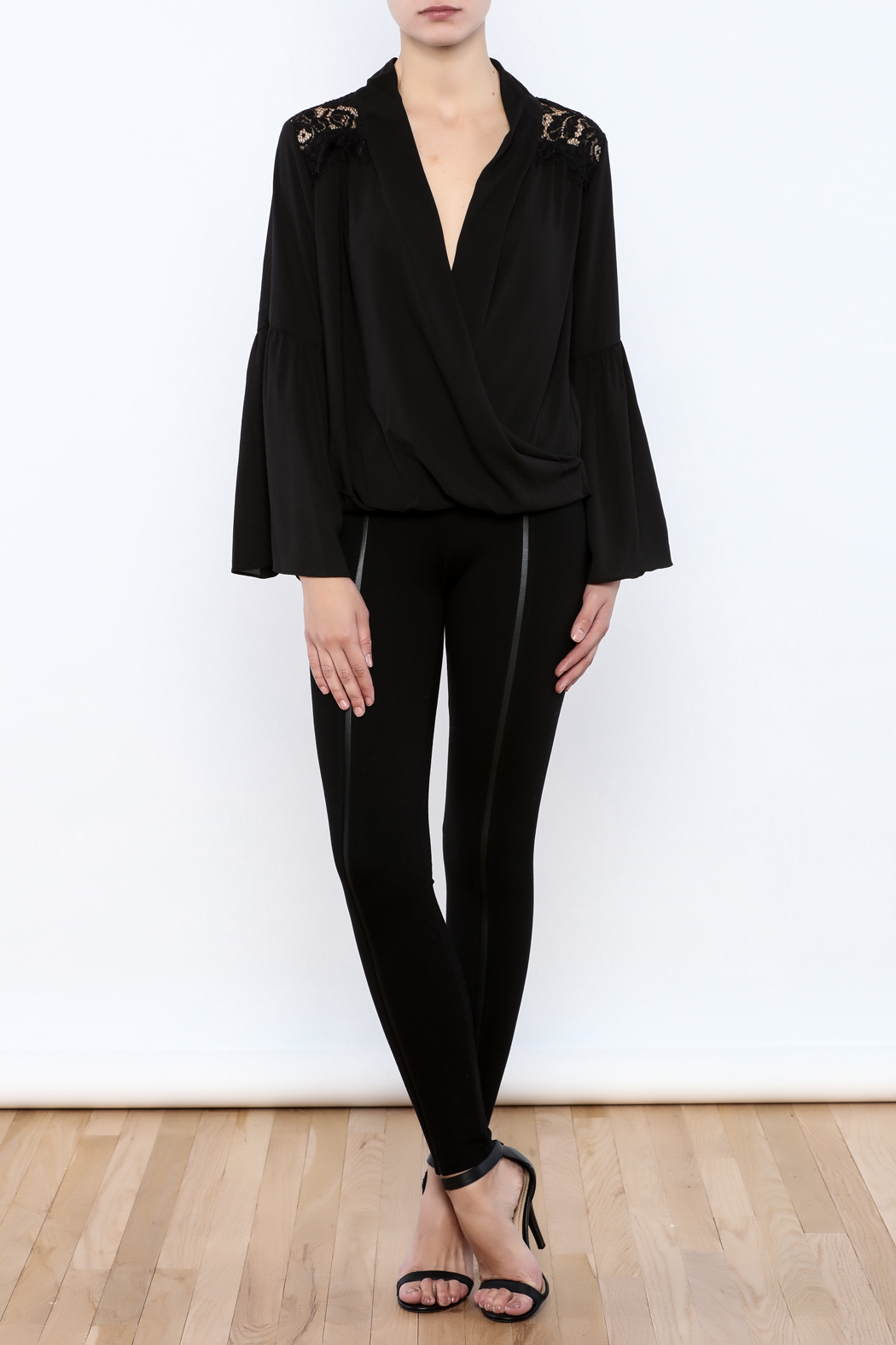 Do & Be Lace Shoulder Top - Front Full Image