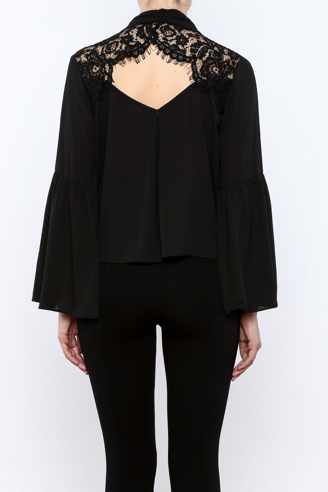 Do & Be Lace Shoulder Top - Back Cropped Image