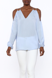 Do & Be Sheer Blue Cold Shoulder Top - Product Mini Image