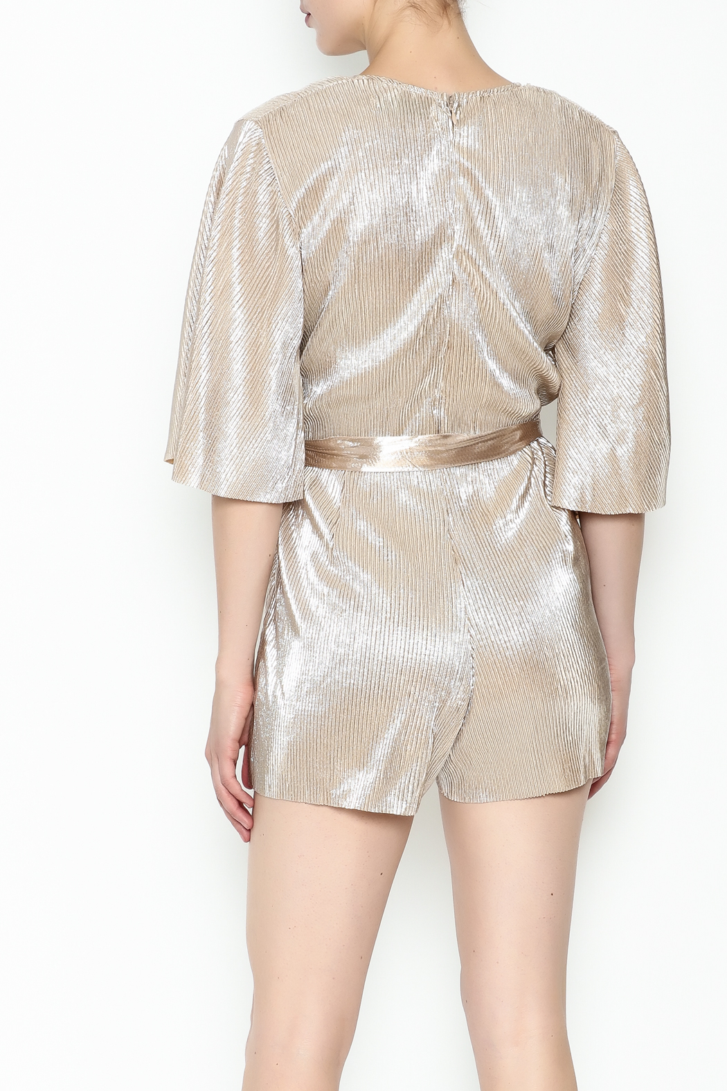 Do & Be Metallic Short Sleeved Romper - Back Cropped Image