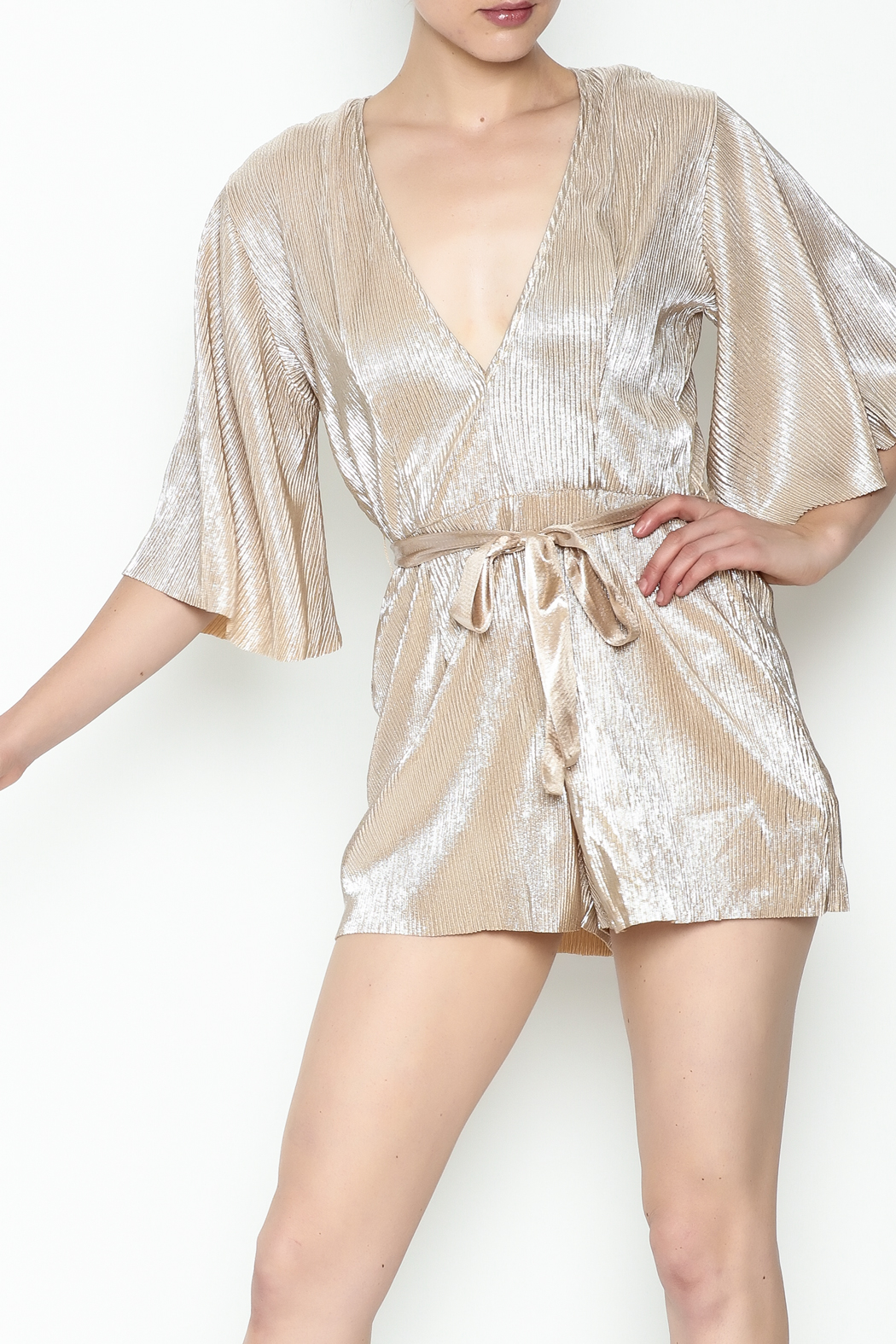 Do & Be Metallic Short Sleeved Romper - Main Image