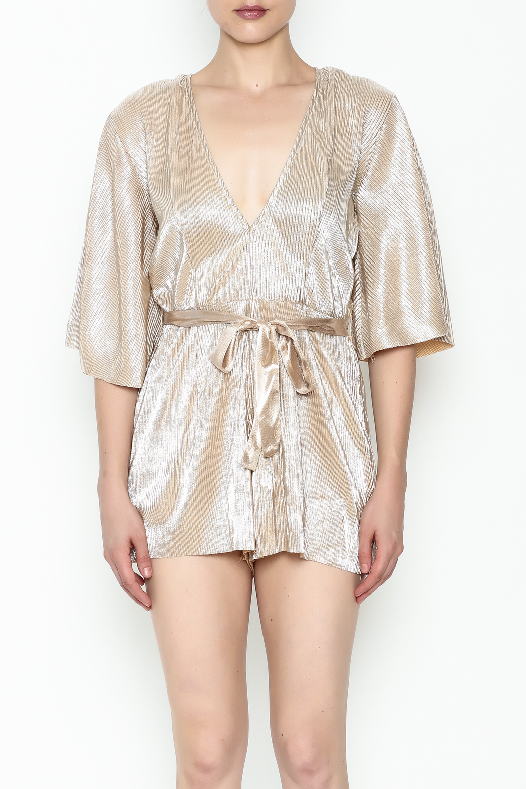 Do & Be Metallic Short Sleeved Romper - Front Full Image
