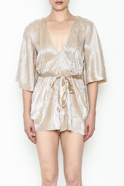 Do & Be Metallic Short Sleeved Romper - Front full body