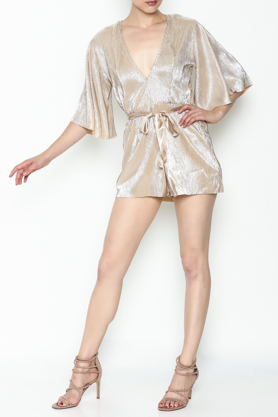 Do & Be Metallic Short Sleeved Romper - Side Cropped Image