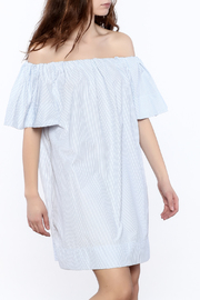 Pinstripe Off-Shoulder Dress