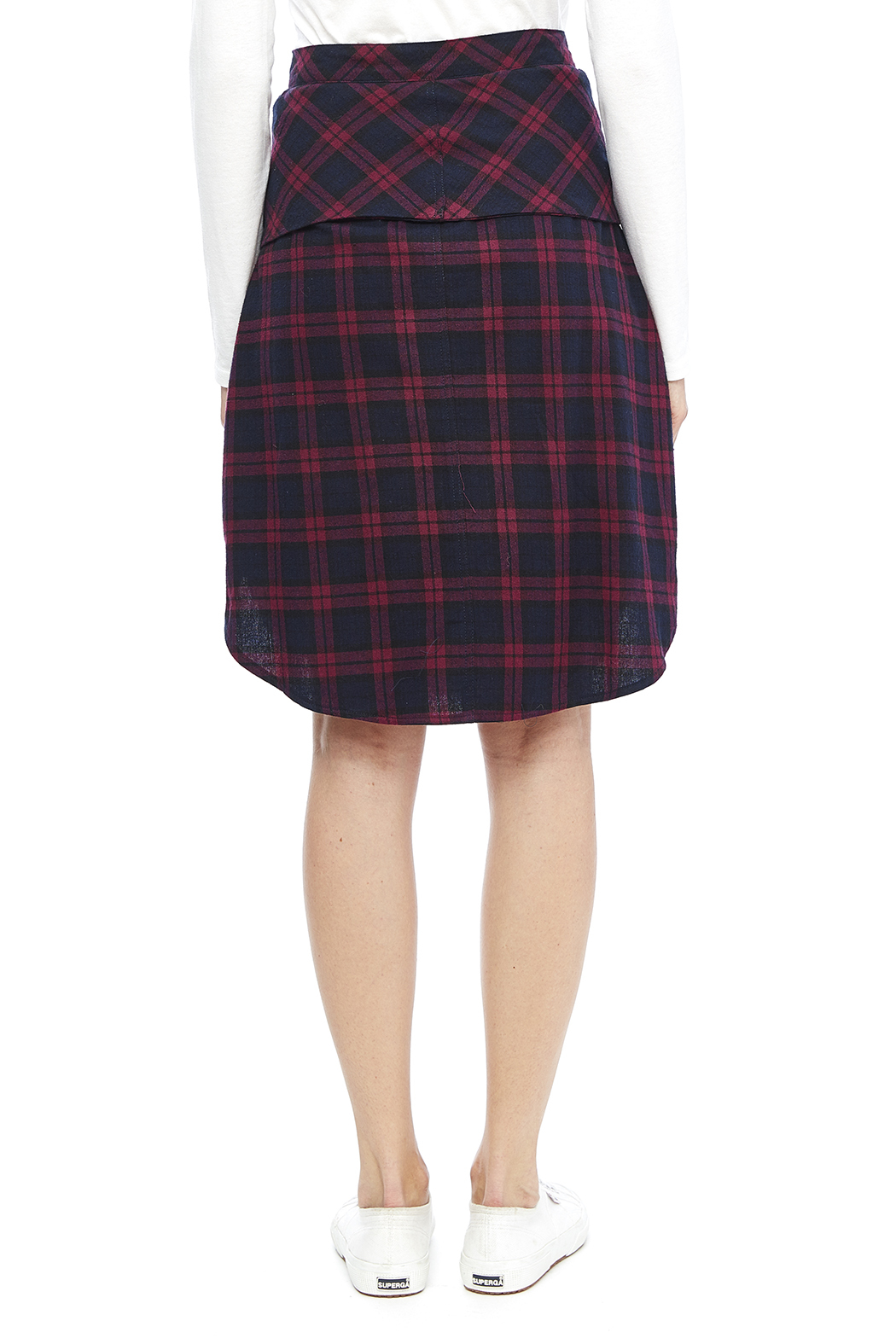 Do & Be Plaid Tie Skirt - Back Cropped Image