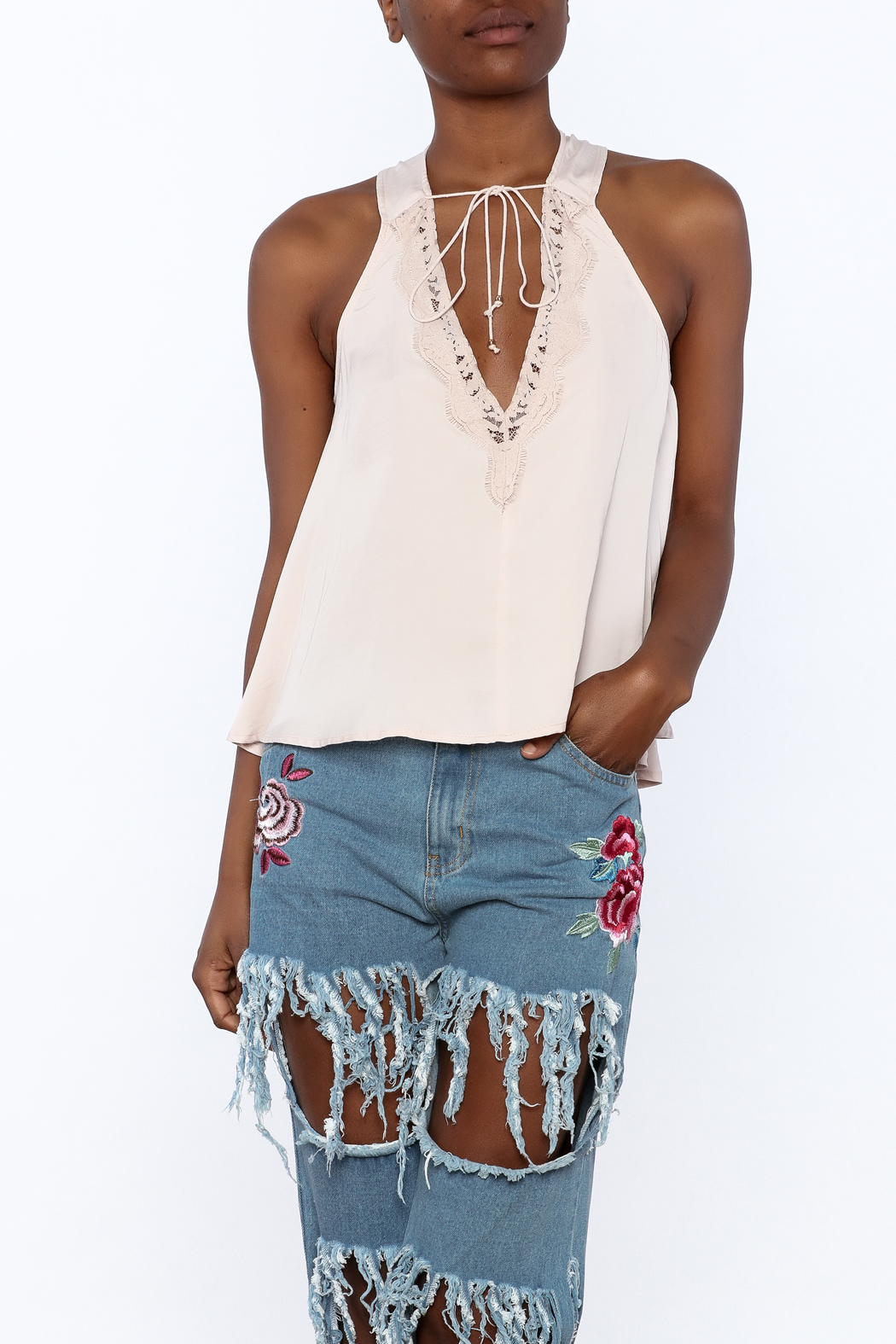 Do & Be Blush Racer Back Top - Front Cropped Image