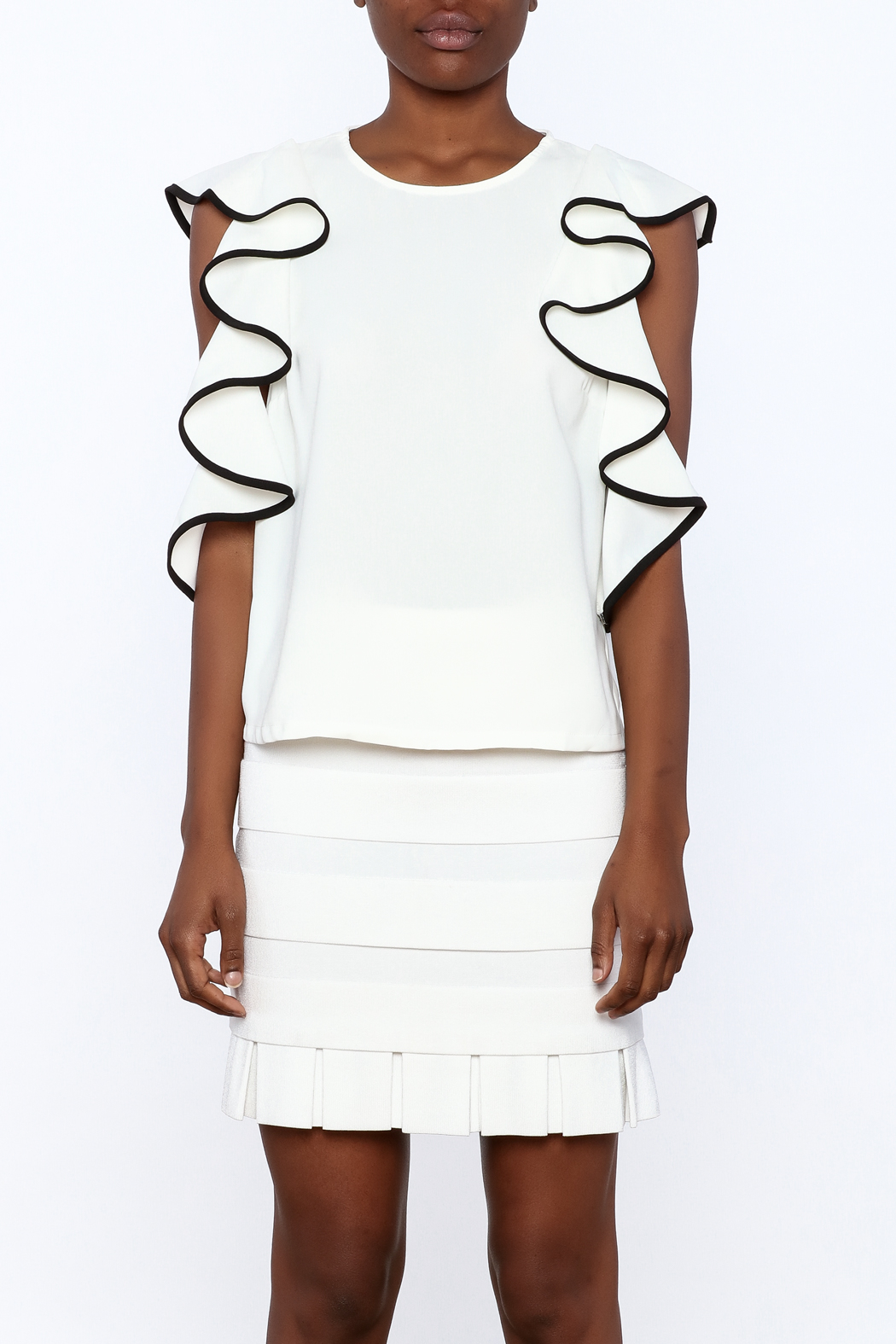Do & Be White Ruffle Top - Side Cropped Image