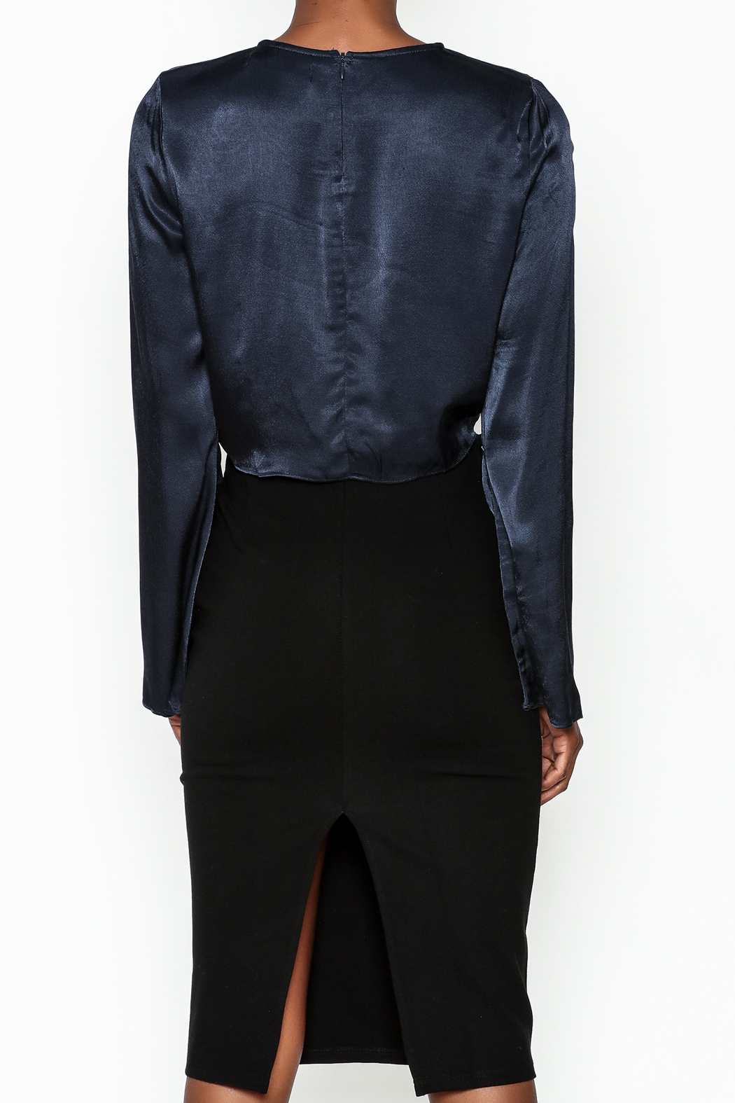 Do & Be Satin Tie Blouse - Back Cropped Image