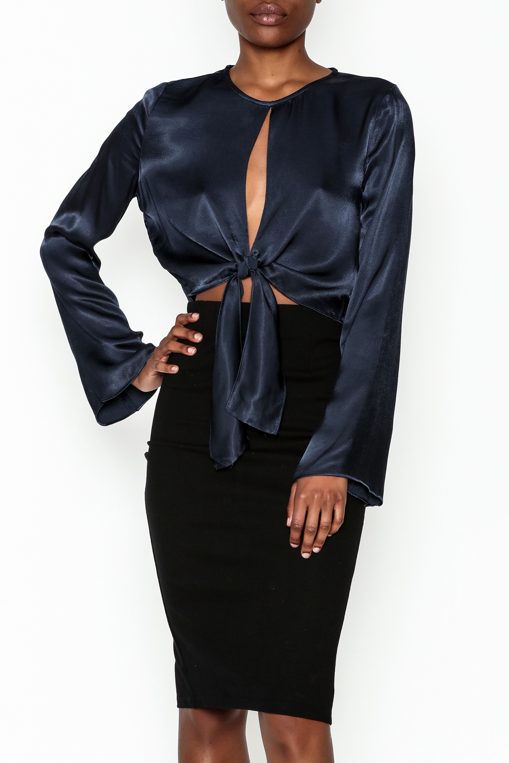 Do & Be Satin Tie Blouse - Main Image