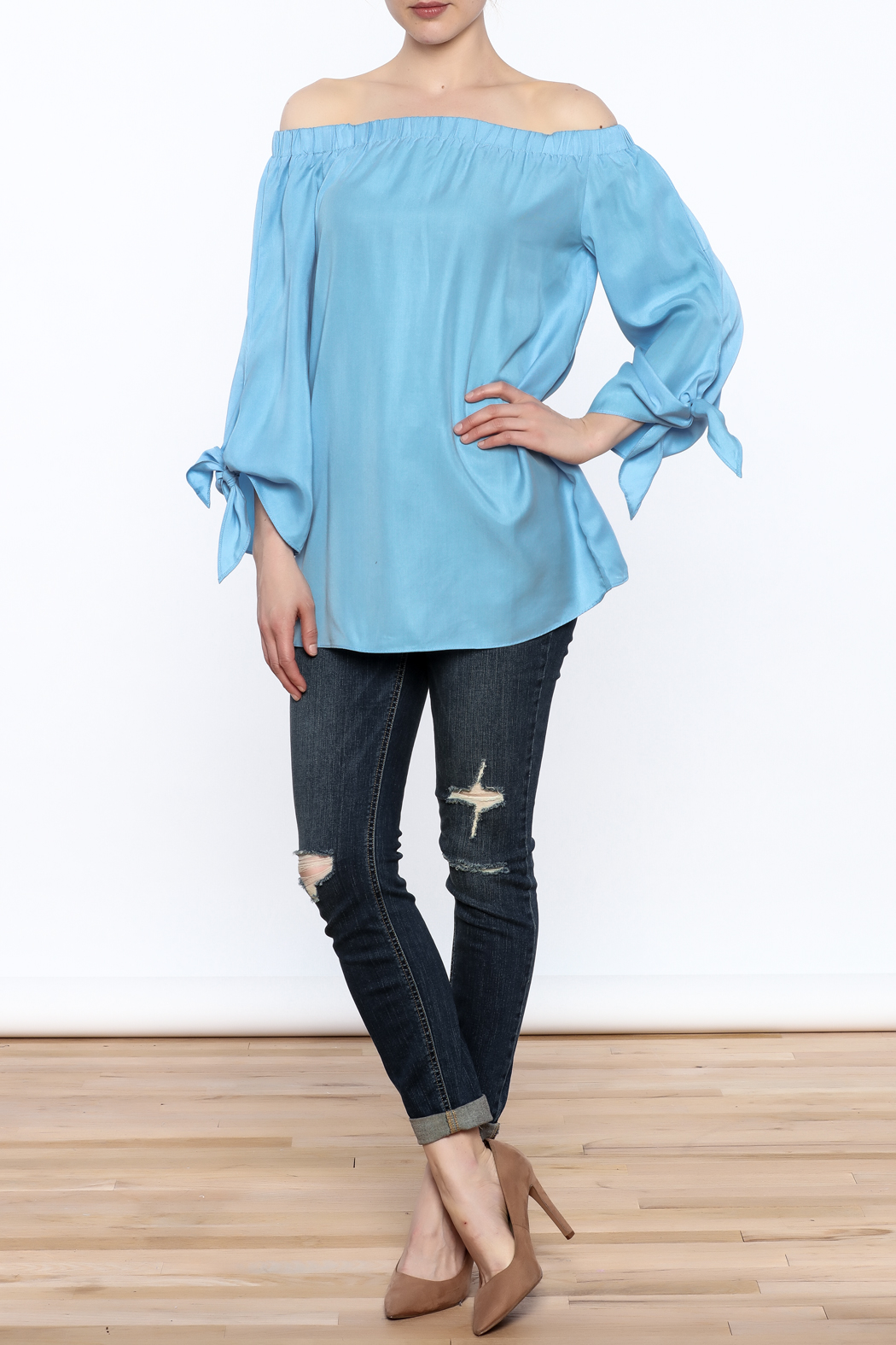 Do & Be Soft Blue Long Top - Front Full Image