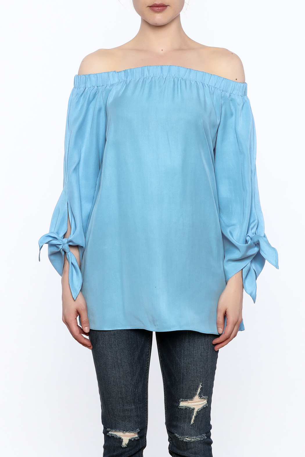 Do & Be Soft Blue Long Top - Side Cropped Image