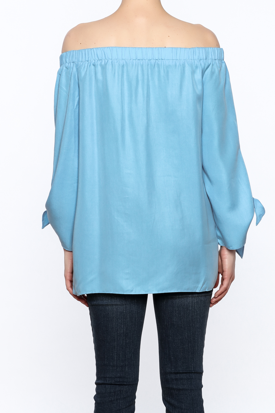 Do & Be Soft Blue Long Top - Back Cropped Image