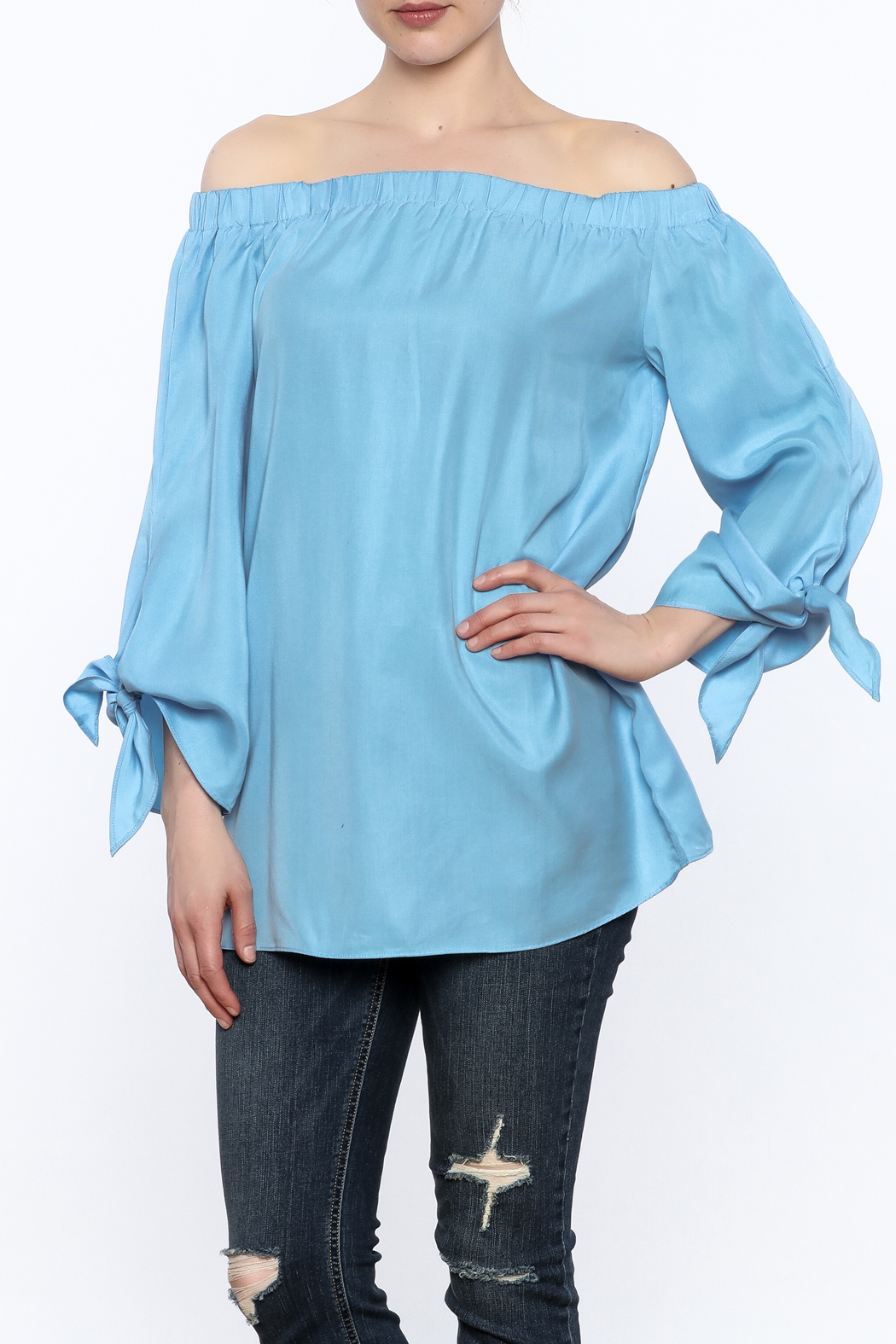 Do & Be Soft Blue Long Top - Front Cropped Image