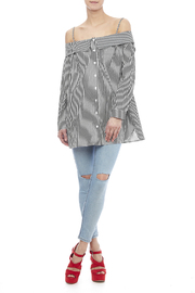 Do & Be Off Shoulder Stripe Tunic - Front full body