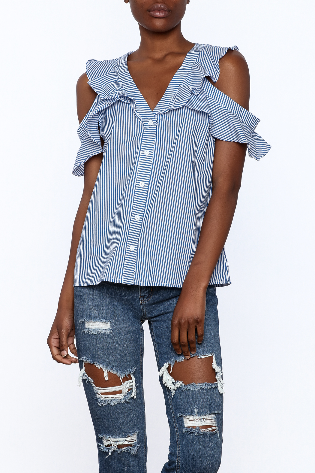 Do & Be Blue Stripe Body Top - Front Cropped Image