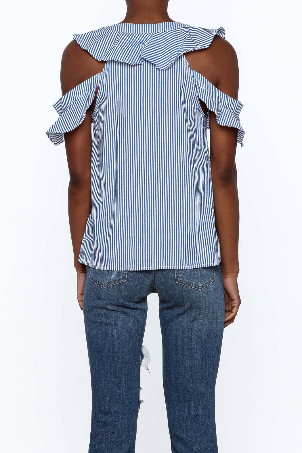 Do & Be Blue Stripe Body Top - Back Cropped Image