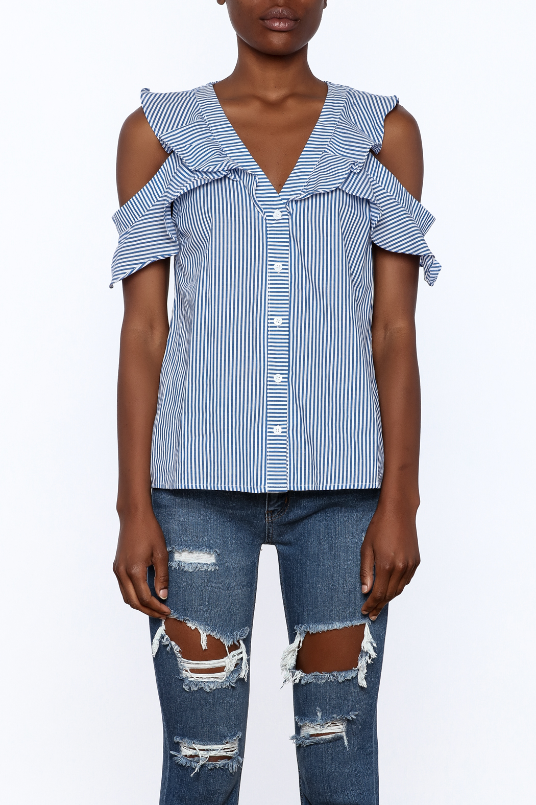 Do & Be Blue Stripe Body Top - Side Cropped Image