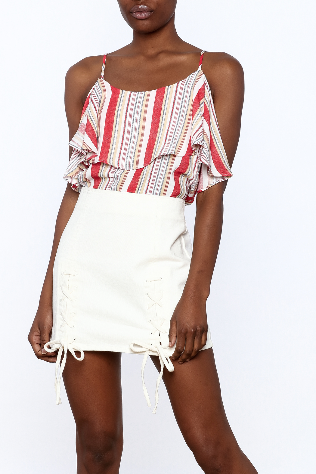 Do & Be Stripe Print Sleeveless Top - Front Cropped Image