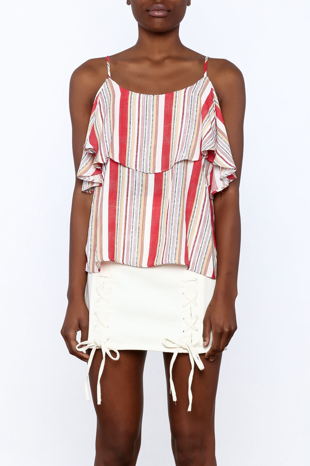 Do & Be Stripe Print Sleeveless Top - Side Cropped Image