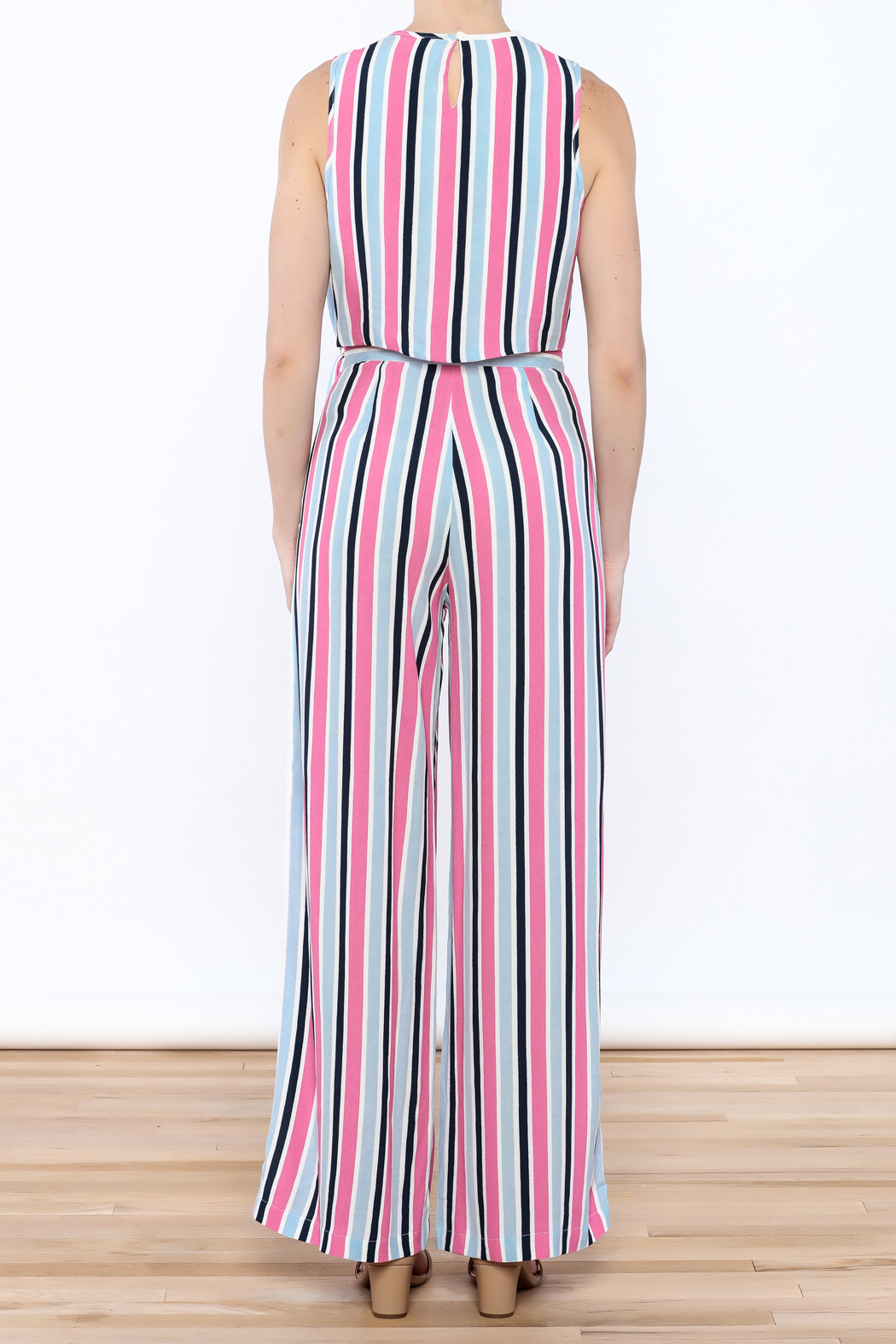 Do & Be Stripe Wide Pant Set - Back Cropped Image