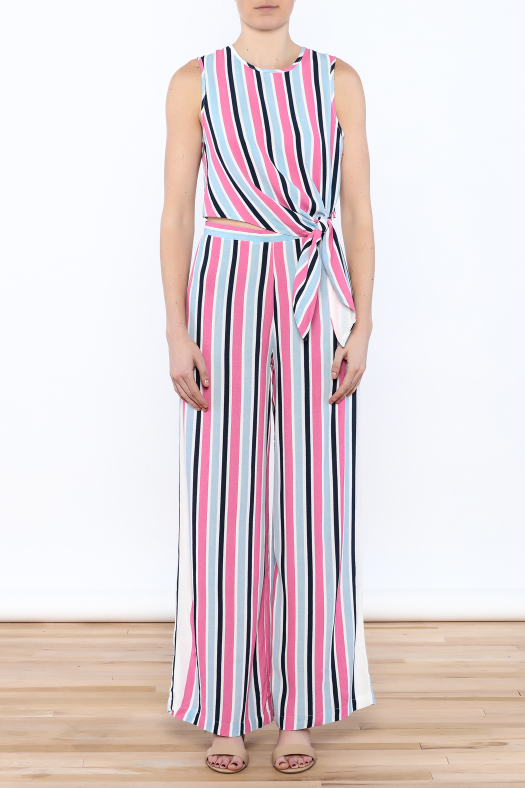 Do & Be Stripe Wide Pant Set - Front Cropped Image