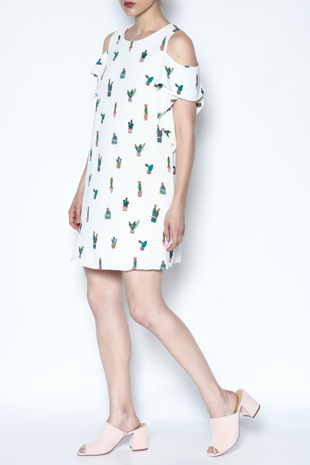 Do-Be Cold Shoulder Dress - Side Cropped Image