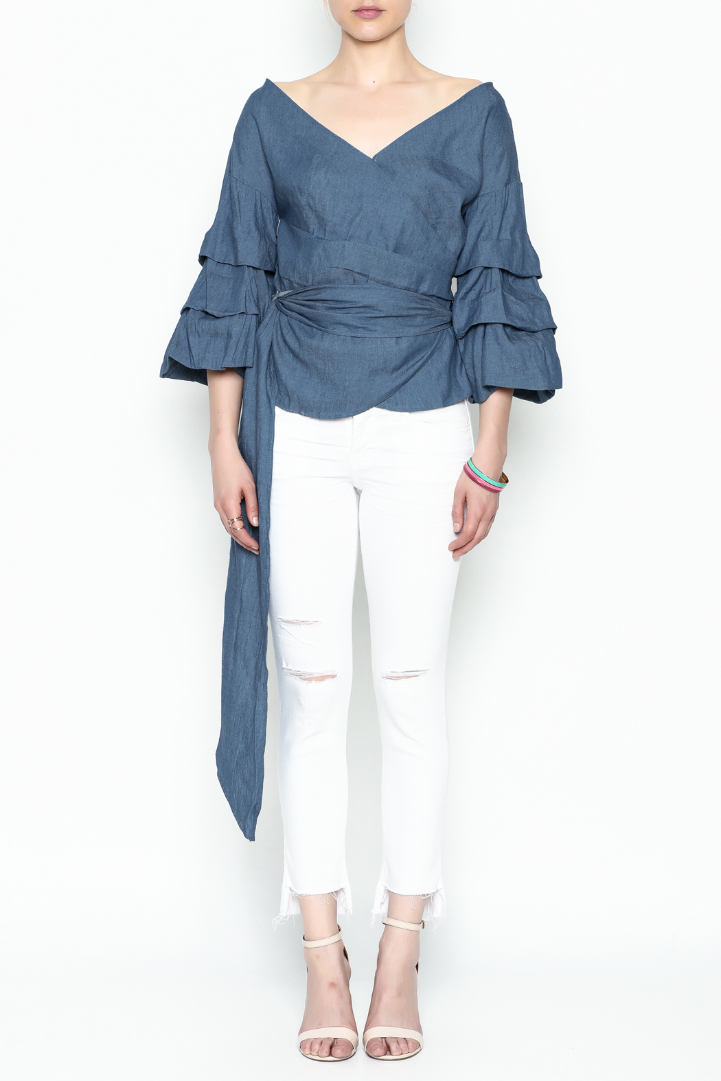 Do-Be Denim Wrap Top - Front Full Image