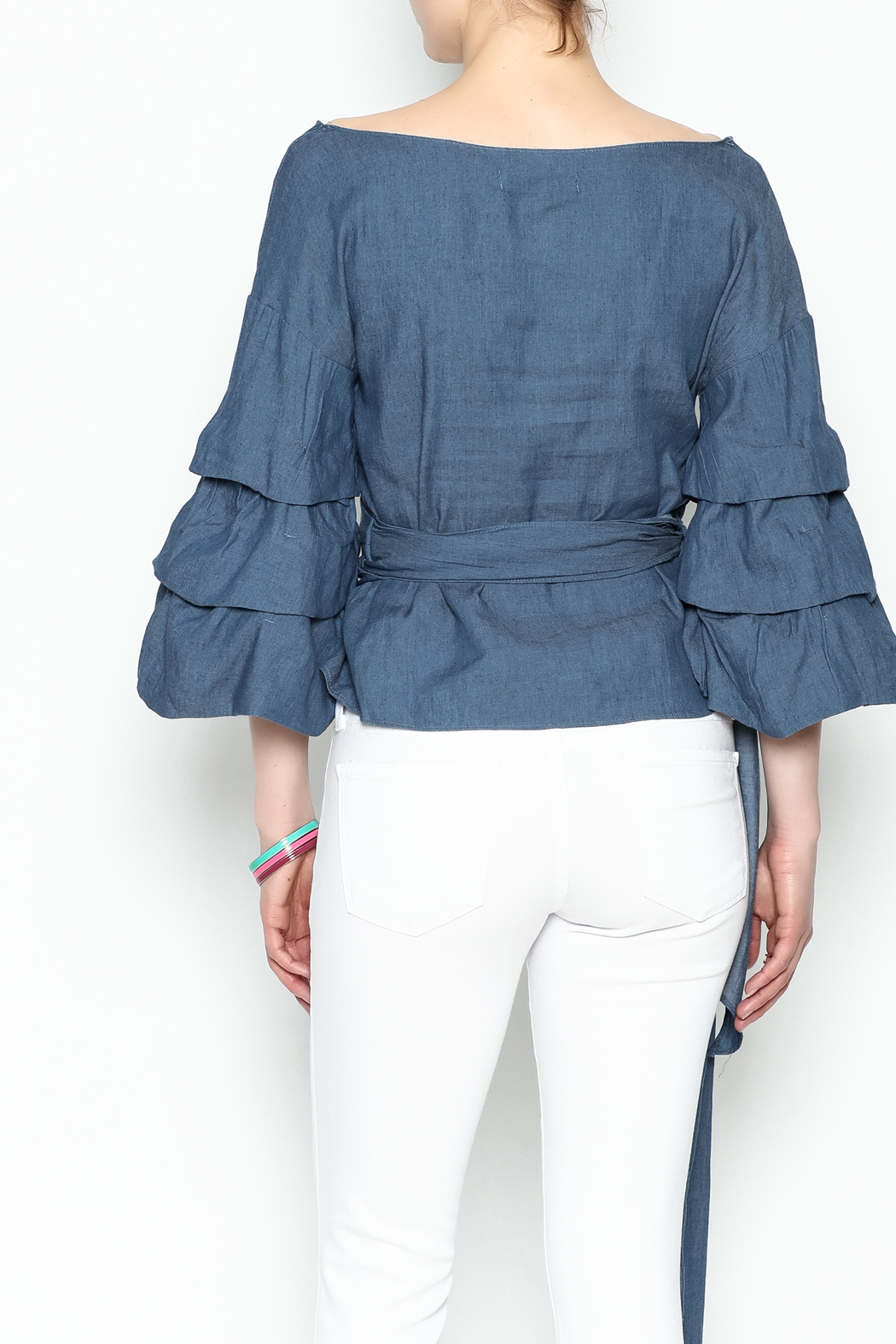 Do-Be Denim Wrap Top - Back Cropped Image