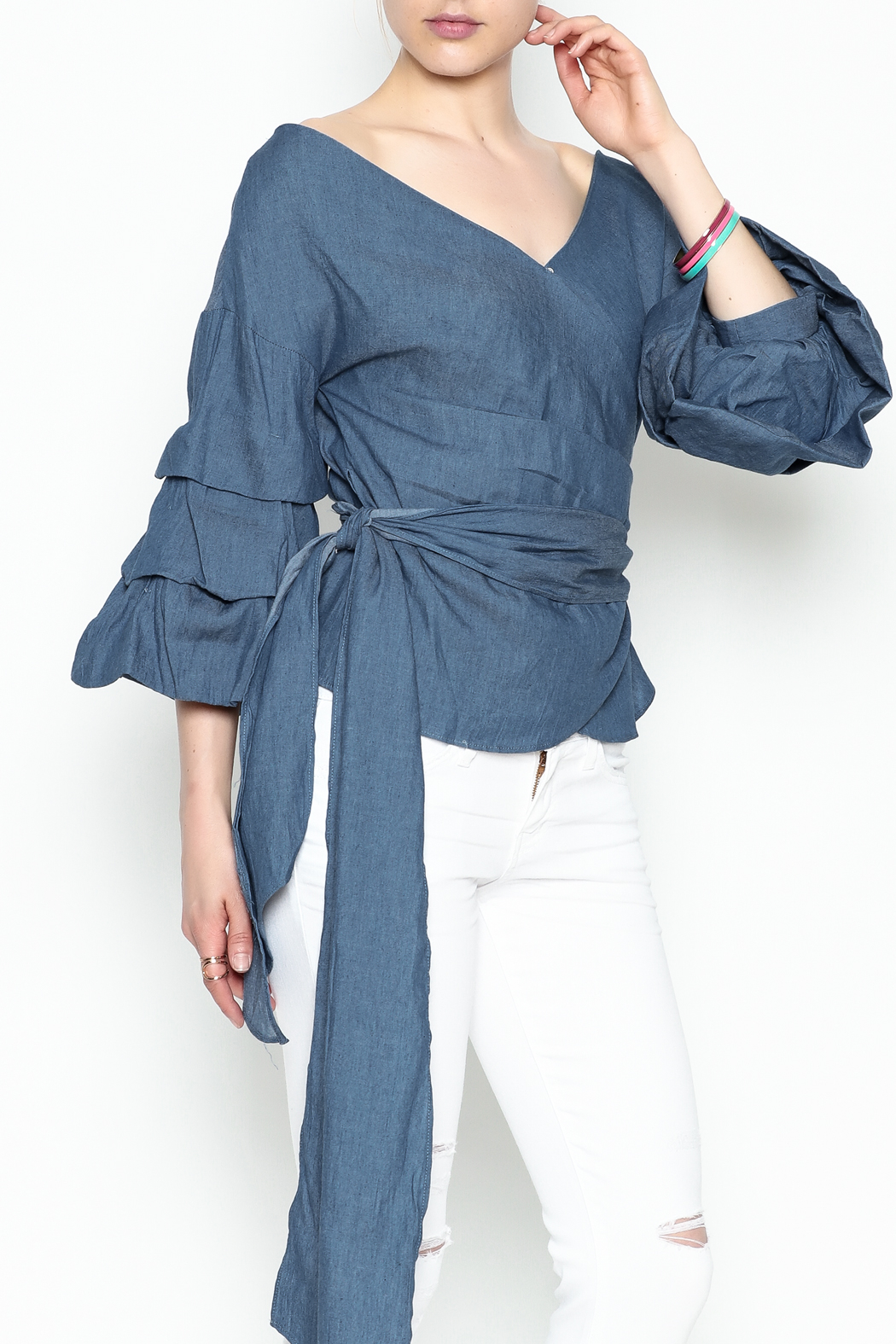 Do-Be Denim Wrap Top - Side Cropped Image