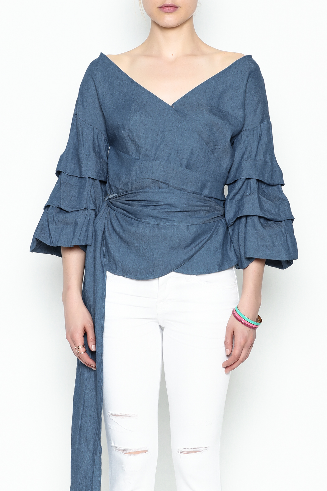 Do-Be Denim Wrap Top - Front Cropped Image