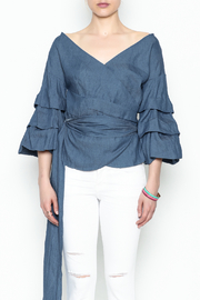 Do-Be Denim Wrap Top - Front cropped