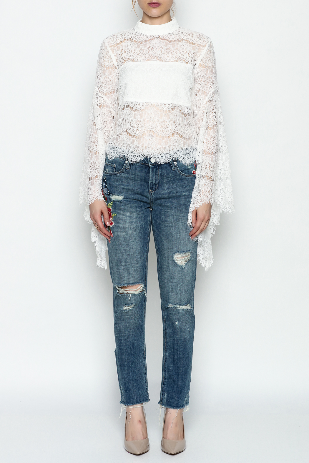 Do-Be Lace Belle Sleeve Top - Front Full Image