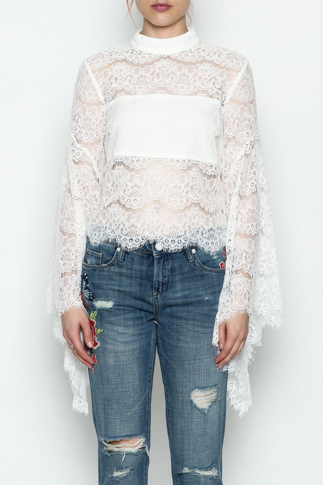 Do-Be Lace Belle Sleeve Top - Front Cropped Image