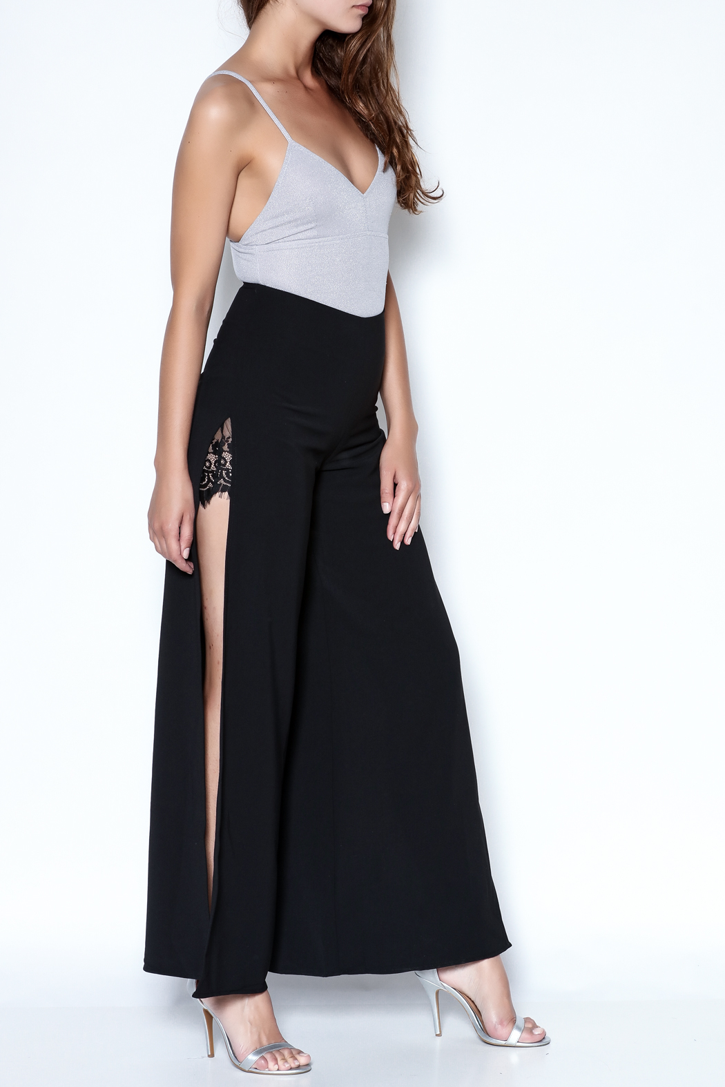 Do-Be Lace Insert Pants - Side Cropped Image