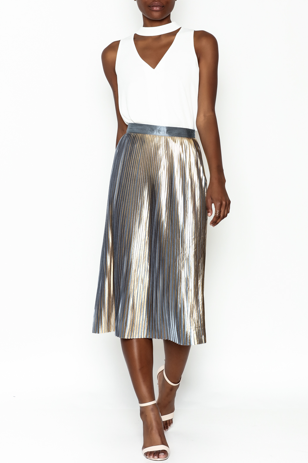 Do-Be Metallic Pleat Skirt - Side Cropped Image