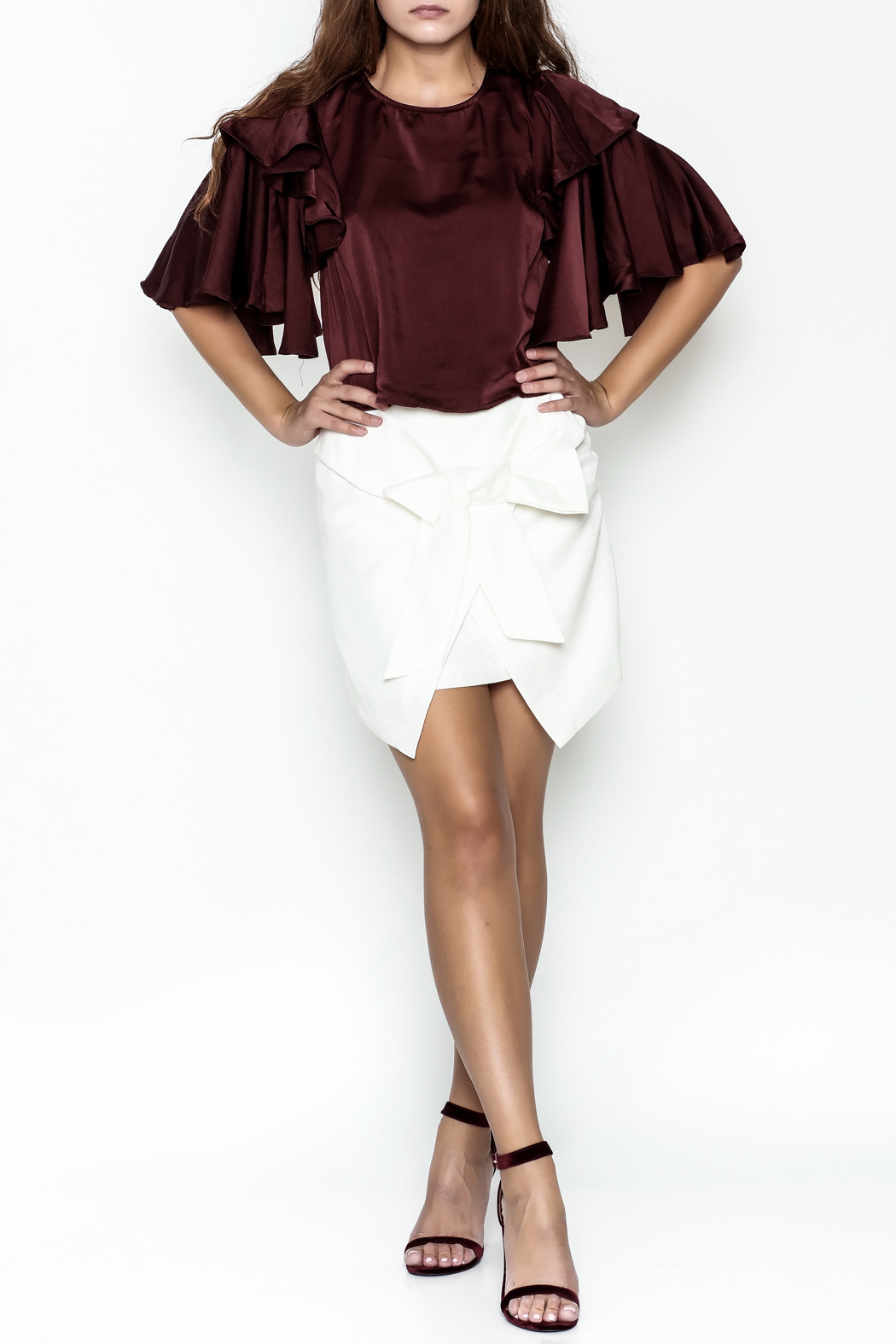 Do-Be Ruffle Sleeve Top - Side Cropped Image